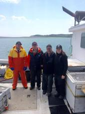 Sampling with long-time Lobster Recruitment participant, Hugh MacDonald, and his cre